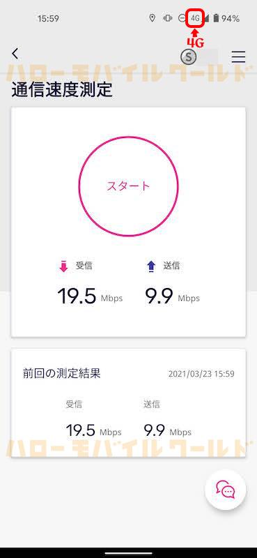 Rakuten 4G LTE 通信速度測定
